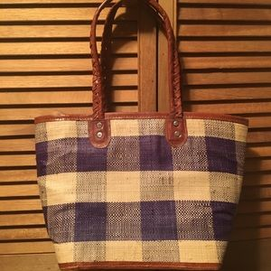 Purple and Natural Straw Bag